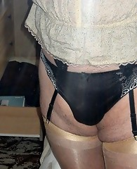 These crossdressers love to show off their sexy bums and hard cocks