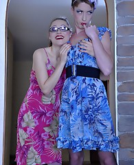 Very cute sissy in a blue summer dress and heels gets impaled on a strapon