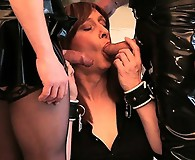 The master and his tranny Mistress torment Luci May with their bondage gear, before letting her suck both their cocks