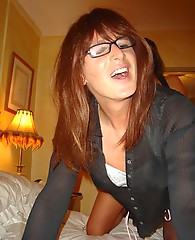 Crossdressing Secretary in glasses gets teased and fucked hard by Femdom and her big lubed strapon