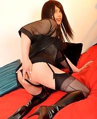 A sexy strip performed by a beautiful crossdressing slut