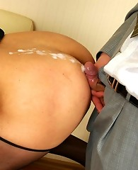 Hungry gay sissy in maid uniform deepthroating and taking it up the butt