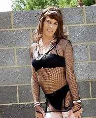 Firm body on this crossdresser and wearing nylons and lingerie