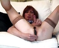 Lucimay fucks her own ass with dildo and masturbates