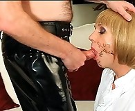 Horny tranny takes out a hard cock and sucks it