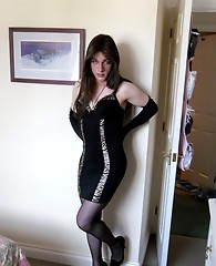 TGirl slut Kirsty looks so hot in this tight black dress
