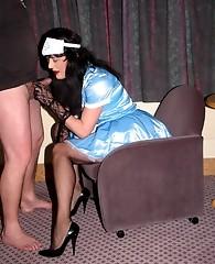 Nylon bitch Yvette dressed as slutty nurse and sucking some cock
