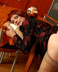 Redhead sissy guy tongue-tickling boner ready for mighty dicking on table