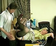 Naughty gay sissy in lacy black stockings getting huge hard-on up his booty