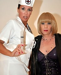 Horny TGirl posing with the gorgeous Nurse Jane
