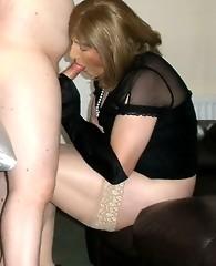 Kirsty and crossdresser friend sucking lots of dick