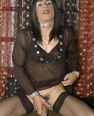 Gorgeous TGirl slut Zoe plays with her monster cock ready for a pole dancing suck job