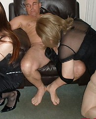 TGirl Kirsty and her horny crossdresser friend suck lots of group cock